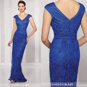 Royal blue Cameron Blake dress lace size 10 NWT